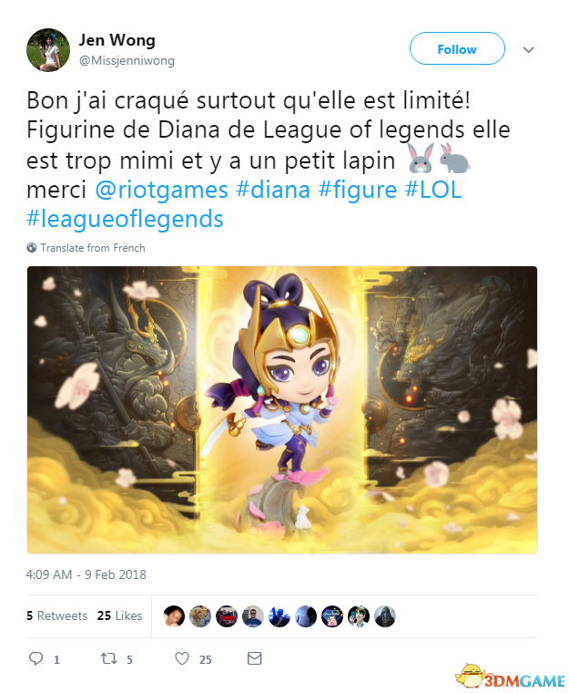 法國正妹自制《英雄聯盟》皎月狗年限定 官方點贊