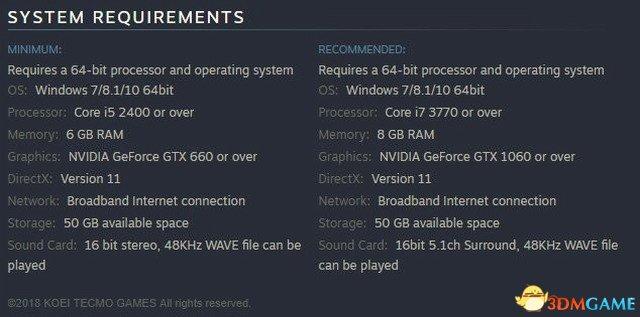 《真三國無雙8》PC配置需求公布 最低GTX 660+i5