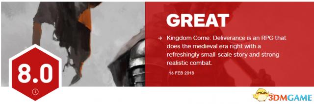《天国:拯救》获IGN 8分 技术瑕疵不掩强大系统