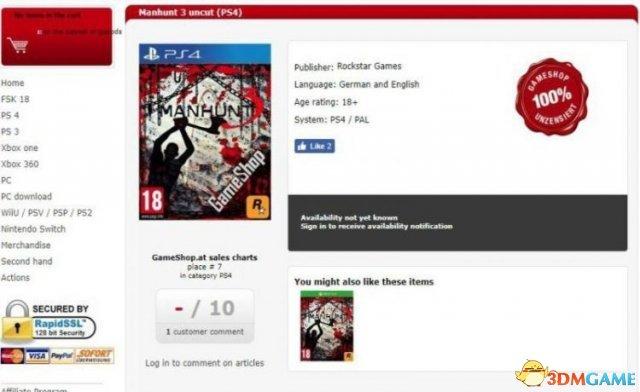 零售商网站上架《侠盗猎魔3》!暴力血腥IP回归?