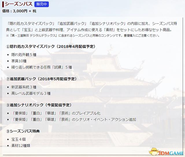 《真三国无双8》全新DLC 4月发售 季票内容公布
