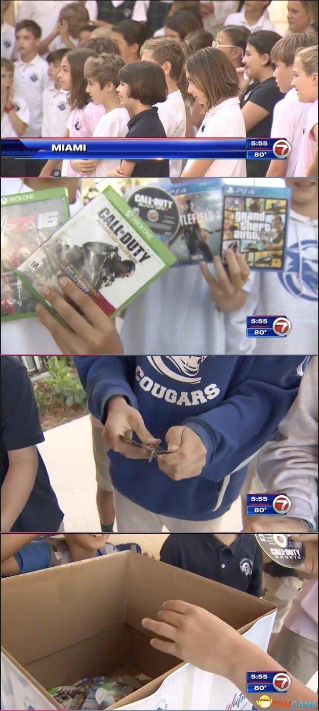 美国一学校响应特朗普号召 组织学生销毁游戏光盘
