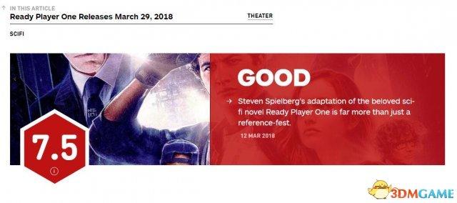 《头号玩家》IGN 7.5分 节奏感很强、充满乐趣
