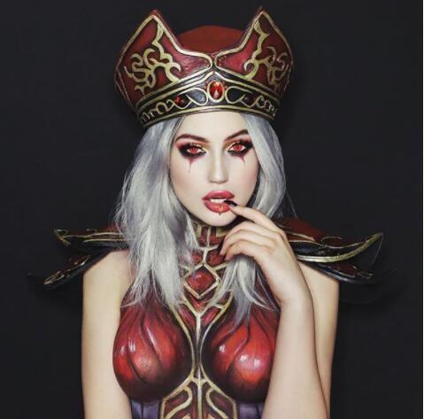 游戏新消息:国外美女晒人体彩绘版魔兽怀特迈恩惊艳无比
