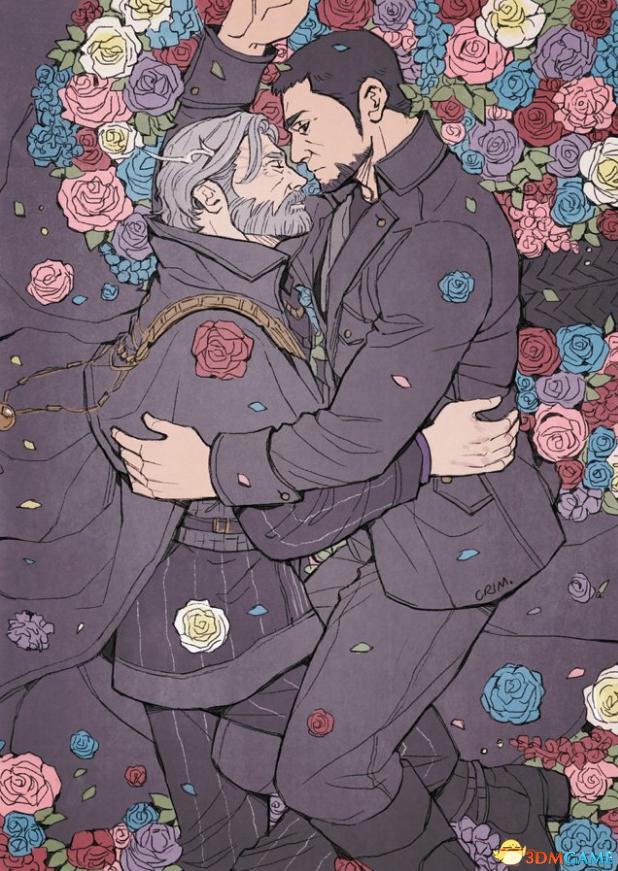 《最终幻想15》官方分享插画 满地鲜花基情四射