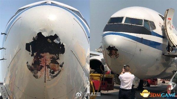 国航客机雷达罩被鸟撞破1米大洞 乘客表示没感觉