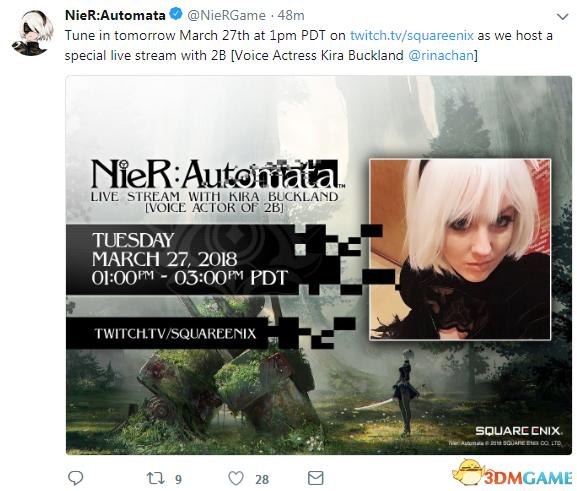 《尼尔:机械纪元》官方:2B将在明日直播特别活动