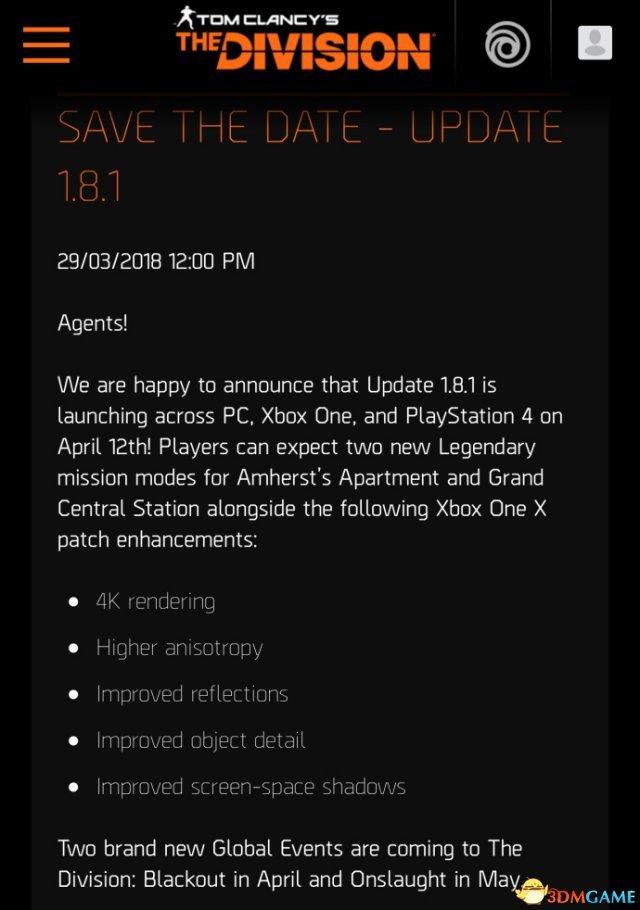 《全境封鎖》1.8.1更新到來 X1X玩家可體驗4K