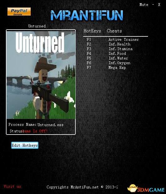 Unturned v3.23.9.1六项修改器[MrAntiFun]