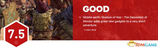 """《中土世界:战争之影》""""魔多荒漠""""DLC获IGN 7.5分"""