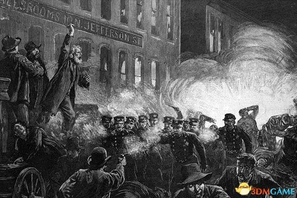 大罢工期间发生的干草市场屠杀版画