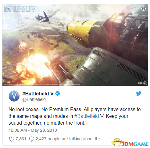 《戰地風雲5》官方確認沒有戰利品開箱和季卡通行證