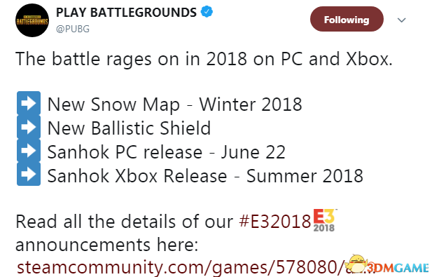 E3:《絕地求生》新地圖Sanhok上線日期確認