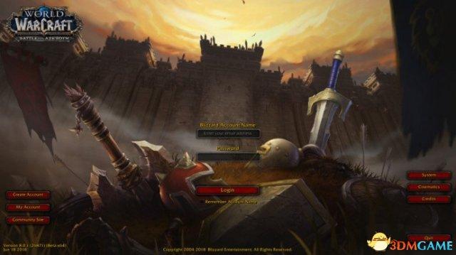 艾泽拉斯重燃战火 《魔兽世界》8.0登陆界面曝光