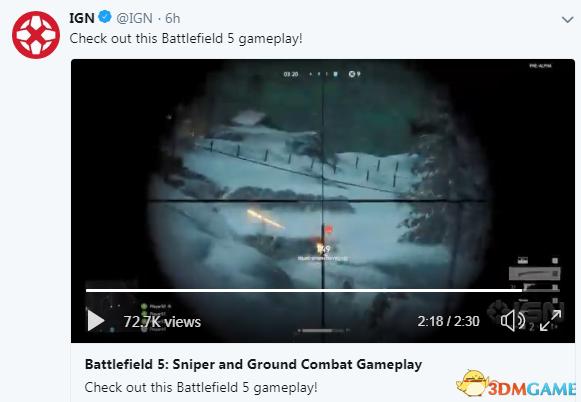 IGN曝《战地5》实机演示 狙击枪和阵地战刺激