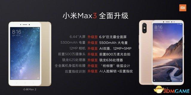 小米Max 3对比Max 2:配置七大升级 依然1699元起?