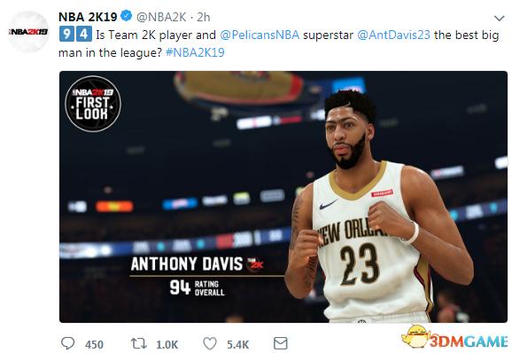 """《NBA 2K19》""""浓眉""""戴维斯能力值公布 结果惊艳"""