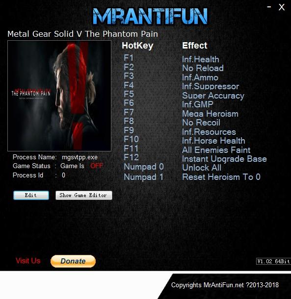 《合金装备5:幻痛》v1.14十四项修改器[MrAntiFun]