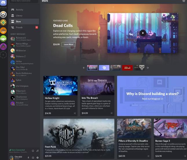 Discord今天宣布开始在其线上商店销售游戏