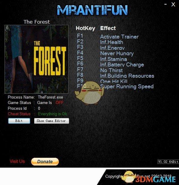 《森林》Build3039027九项修改器[MrAntiFun]