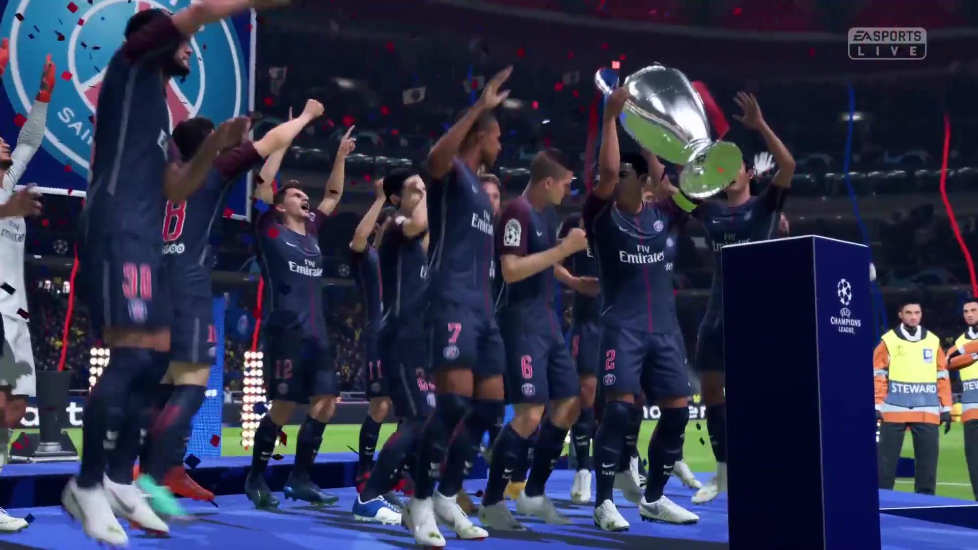 大巴黎对阵蓝月亮《FIFA 19》欧冠联赛模拟决赛演示