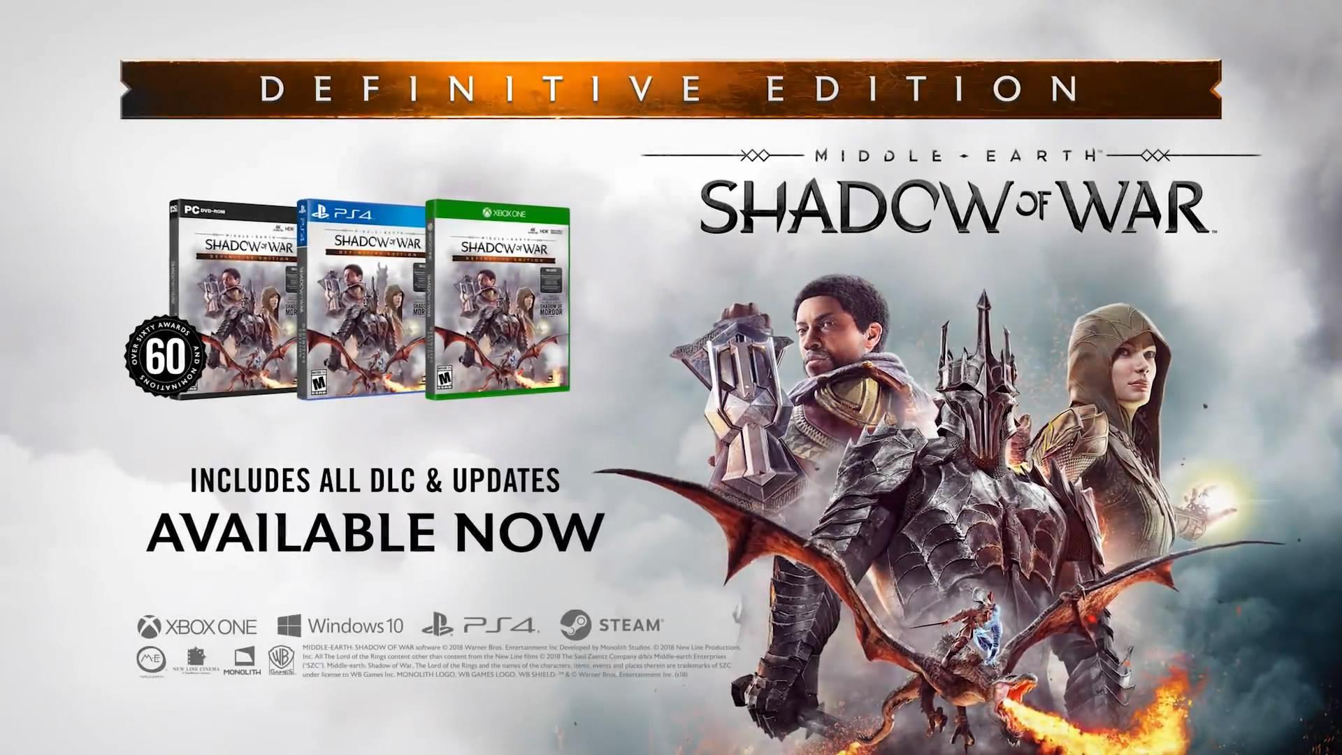 《中土世界:战争之影》终极版含全部DLC 售价163元