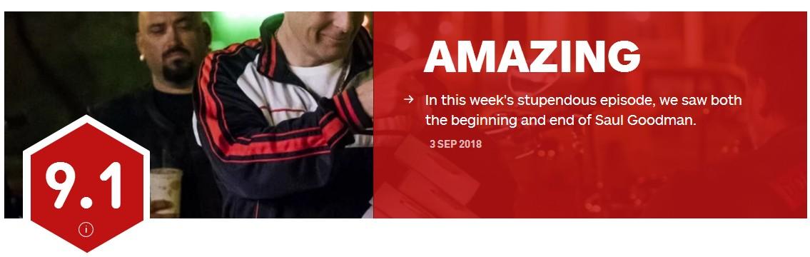"""《风骚律师》""""荆途""""IGN 9.1分 交代绝命毒师结局"""