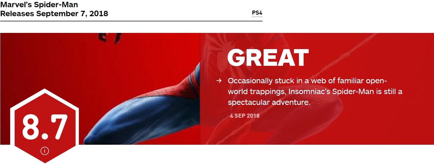 《蜘蛛侠》IGN 8.7分 每一步都有蜘蛛侠的感觉
