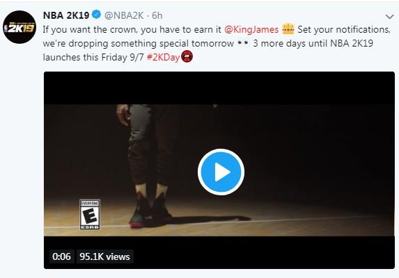 《NBA 2K19》詹姆斯真人广告 想加冕必须努力