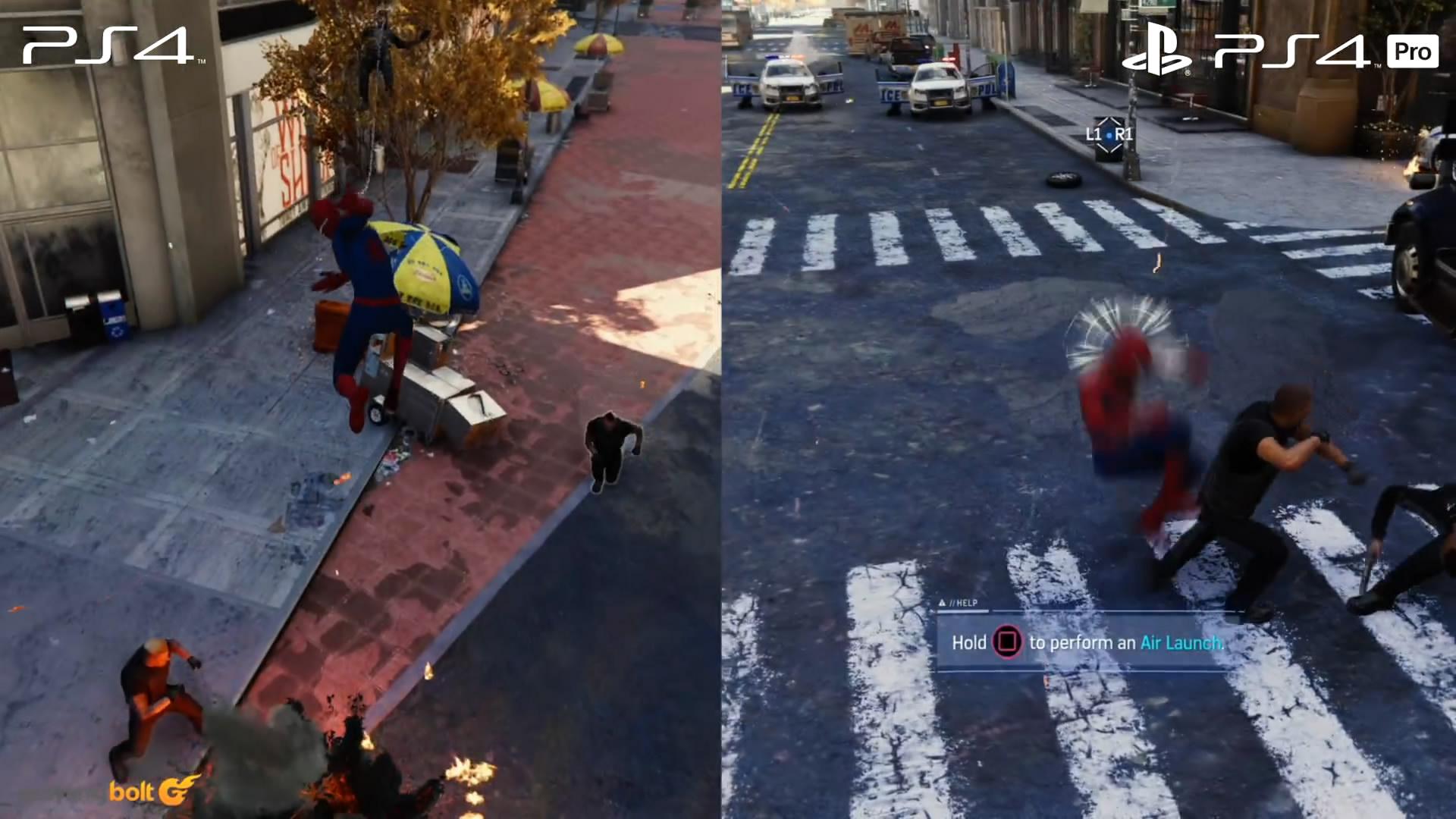 《蜘蛛侠》PS4和PS4 Pro版画面对比 后者画面更精美
