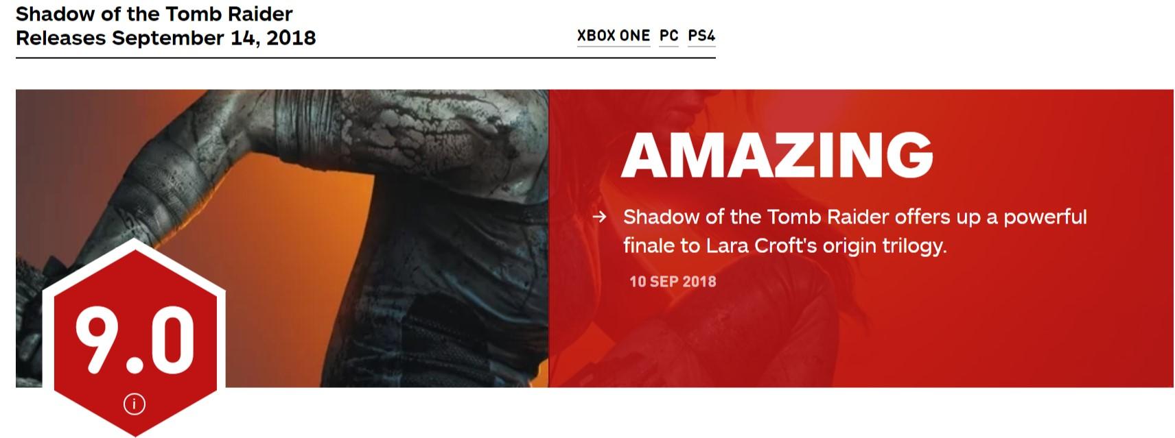 《古墓麗影:暗影》IGN 9分 起源三部曲的有力終結