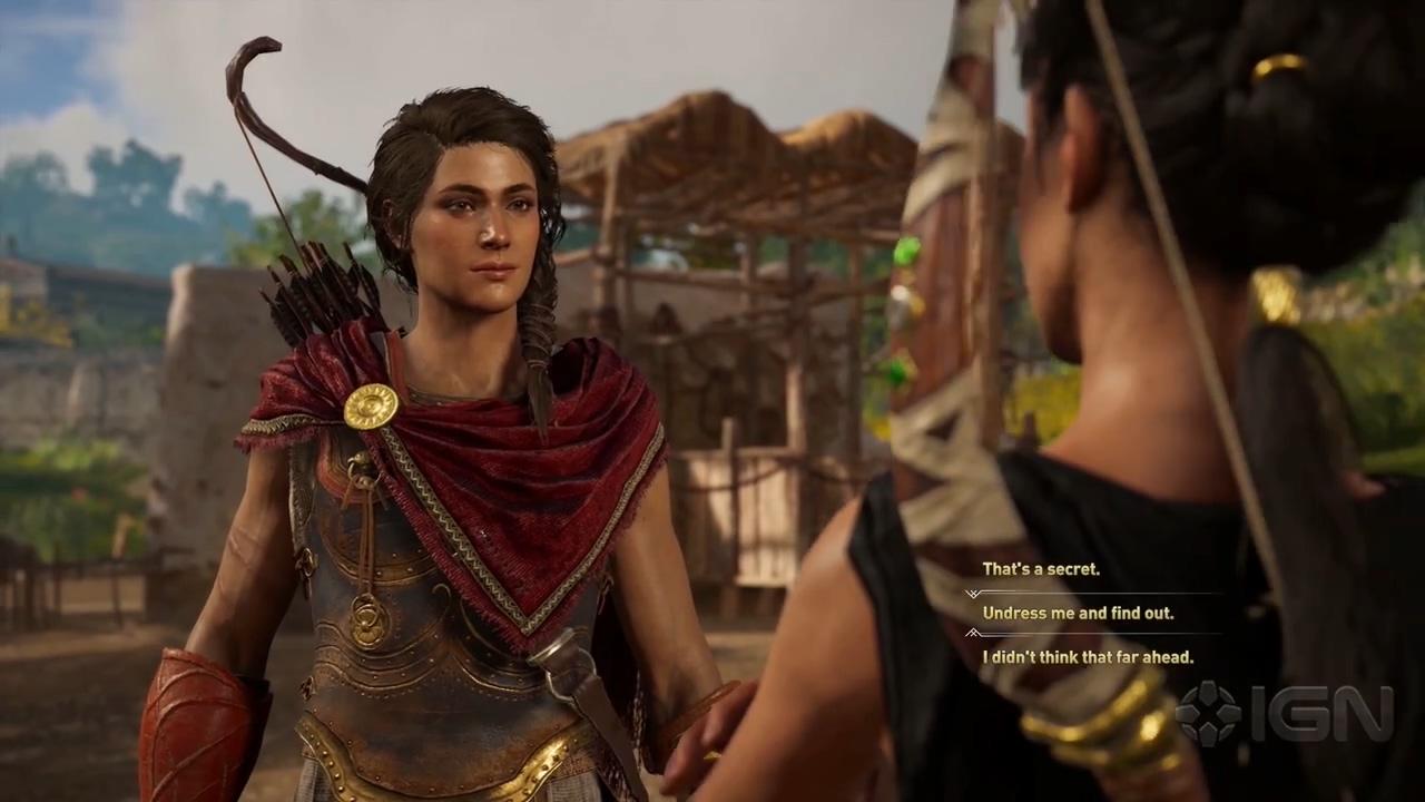 《刺客信条:奥德赛》恋爱任务演示 女主和女NPC也能激情