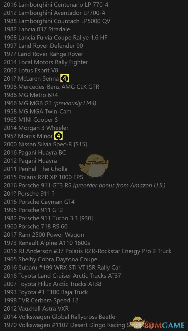 《极限竞速:地平线4》已知车单一览