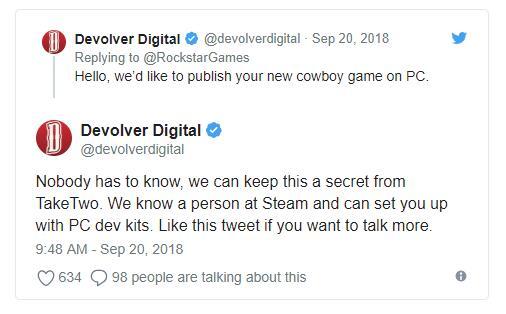 德州某發行商請求R星讓其在PC發行《荒野大鏢客2》