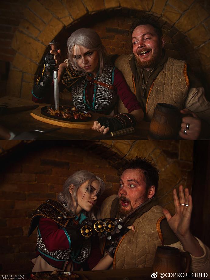 俄美女COS《巫师3》希里 醉汉想揩油被妹子拔刀恐吓