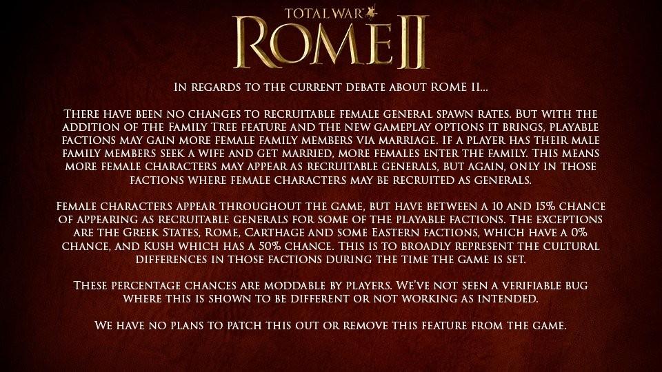 《罗马2:全面战争》官方回应女将门:不做任何改动