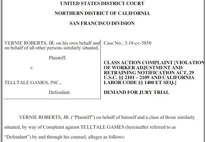 Telltale工作室大面积裁员 前员工将其告上法庭