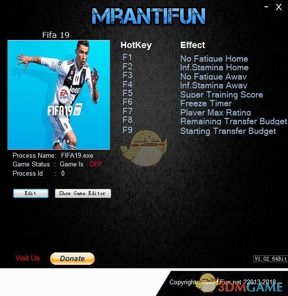 《FIFA 19》v2018.09.28九项修改器[MrAntiFun]