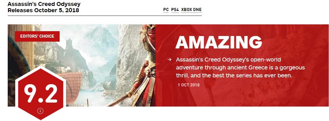 《刺客信条:奥德赛》IGN 9.2分 系列最佳开放世界