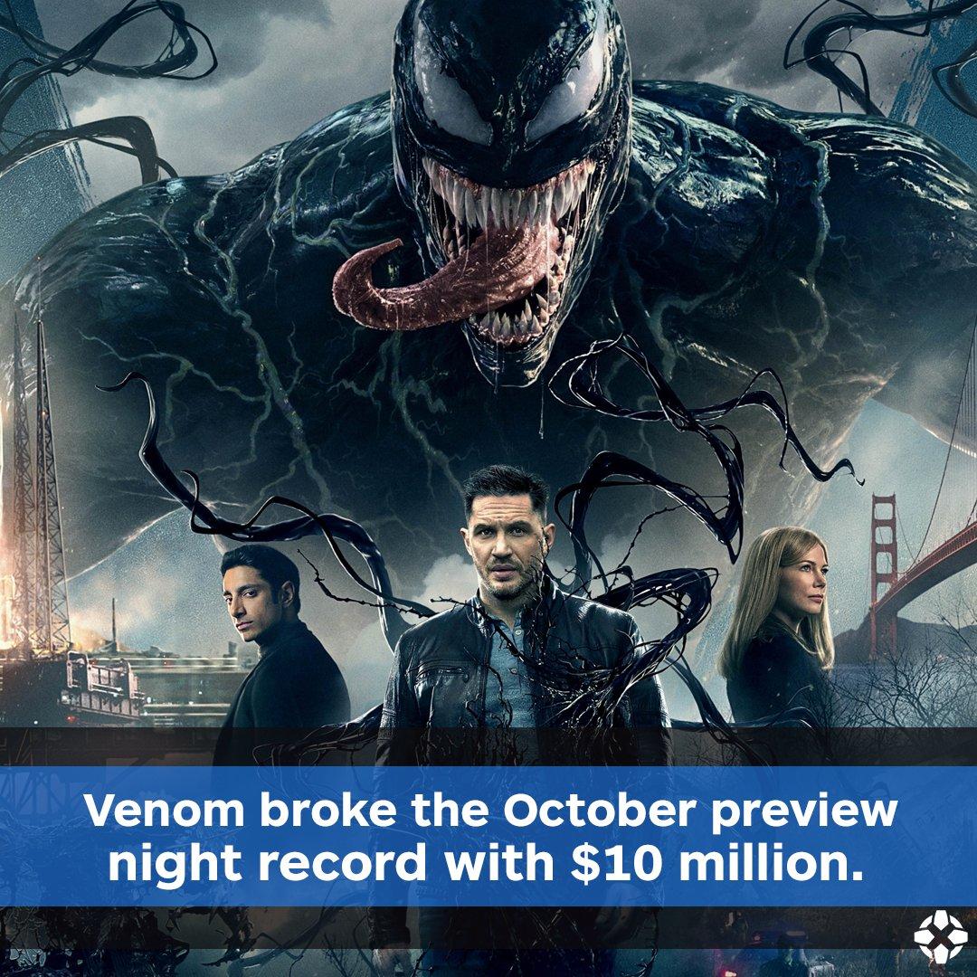 开局强势 《毒液》北美提前夜场狂收1千万创影史10月记录