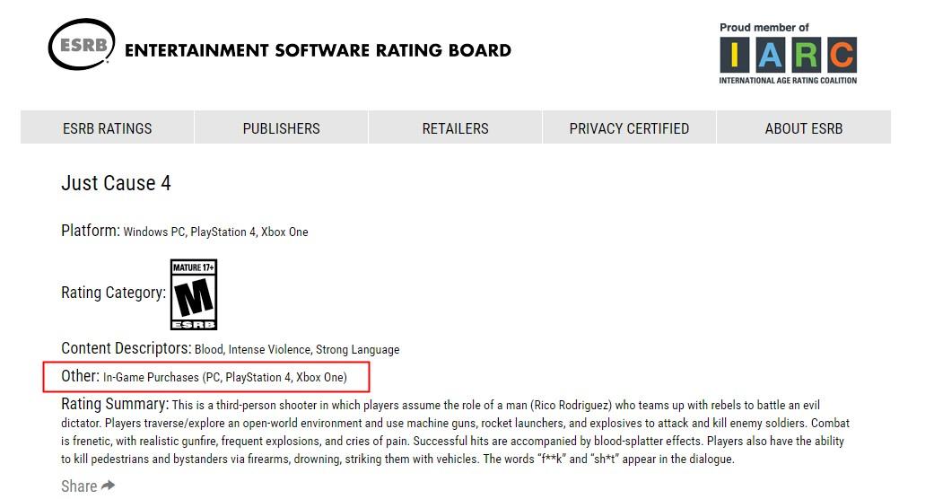 《正当防卫4》游戏评级公布 确认含有微交易