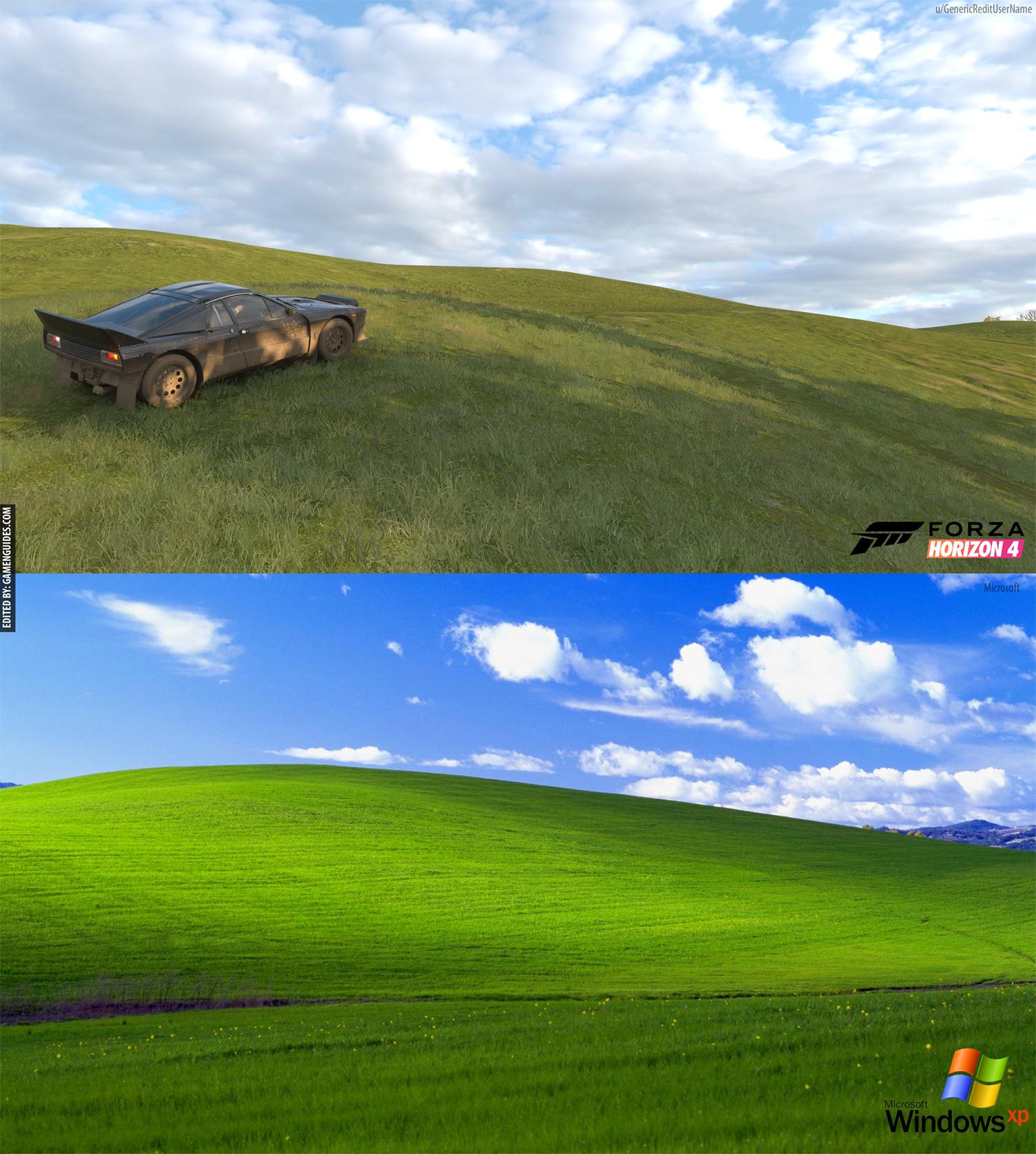 在《极限竞速:地平线4》里我好像看到了XP的桌面?