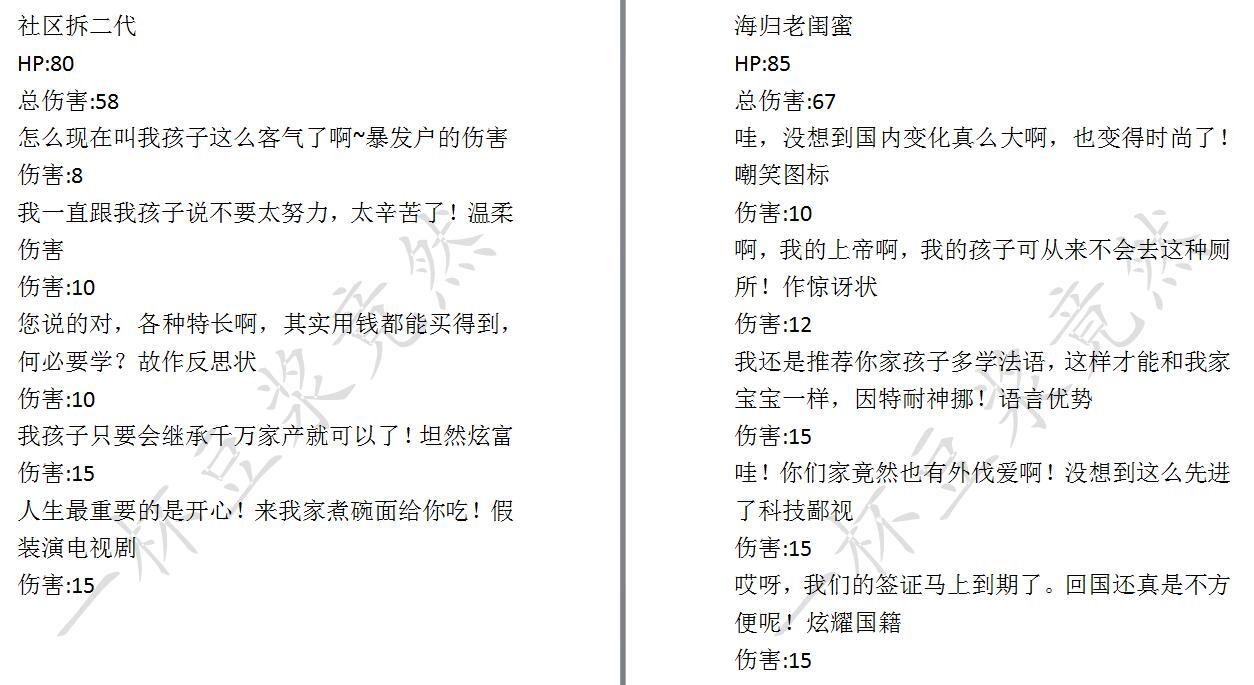 《中国式家长》面子对决对手数据一览