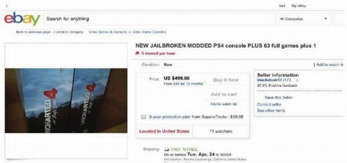 新力針對網售破解PS4發起首例訴訟 加州eBay店主倒楣瞭