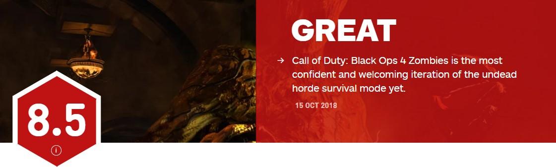 《使命召唤15》僵尸模式IGN 8.5分 最自信最受欢迎