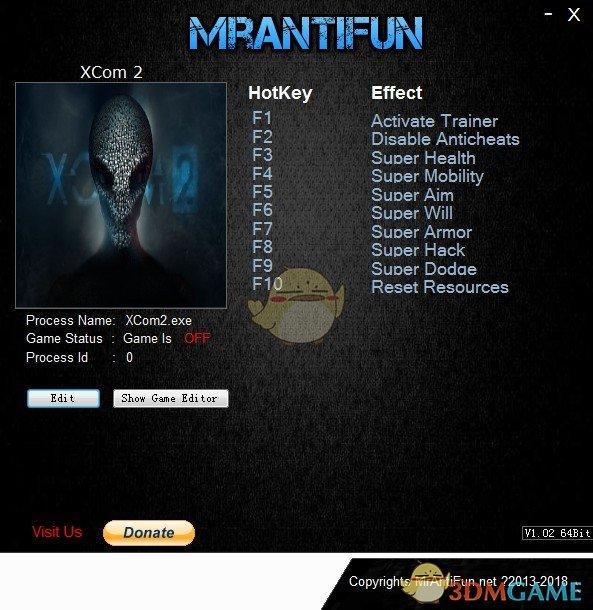 《幽浮2》v2018.10.14八项修改器[MrAntiFun]