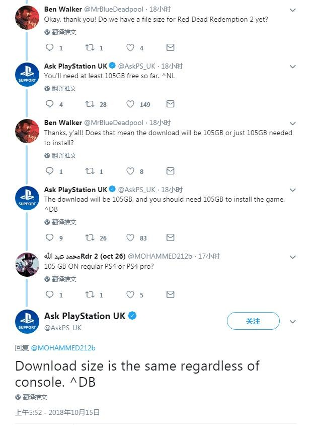 《荒野大镖客2》PS4/Pro版容量为105GB 不包含后续补丁