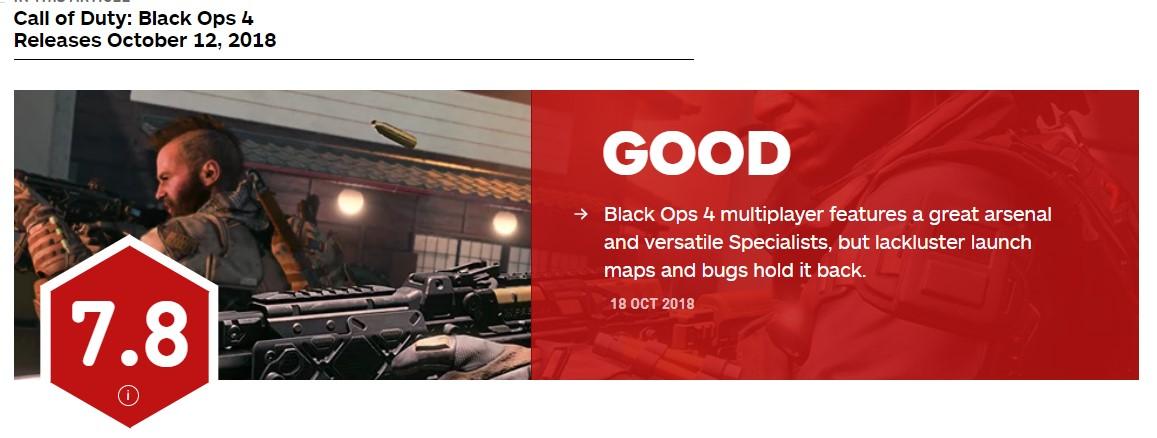 《使命召喚15》傳統多人模式IGN 7.8分 首發地圖一般、bug多