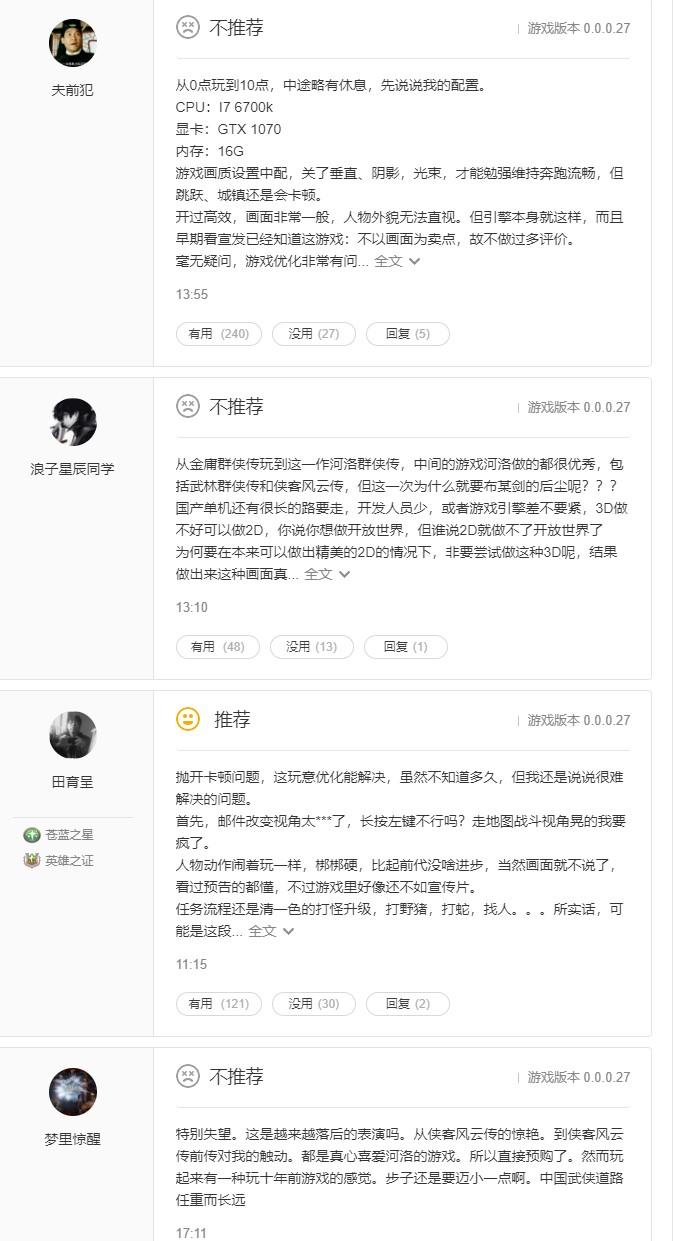 《河洛群侠传》WeGame推荐率仅为51% 优化是大问题