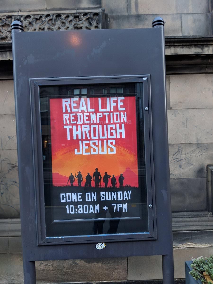 英国教会很硬核:竟借用《荒野大镖客2》海报来做宣传